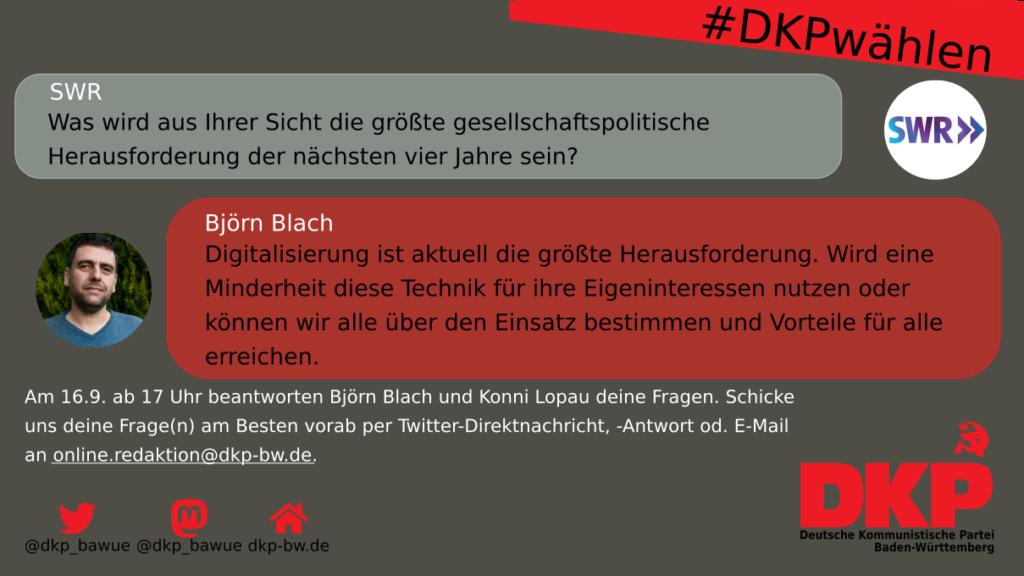 Björn Blach zum Thema Digitalisierung als aktuell größte Herausforderung.